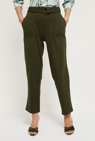 MAX Solid Trousers with Slant Pockets