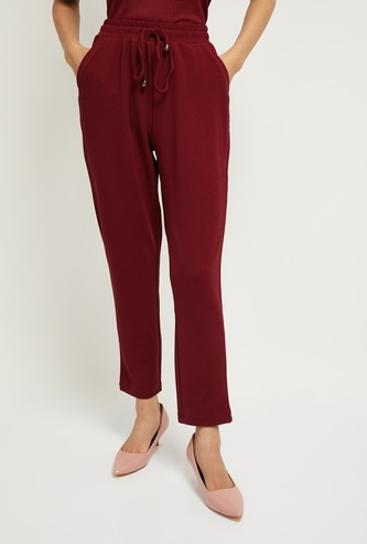 MAX Solid Ankle-Length Pants with Drawstring Waist