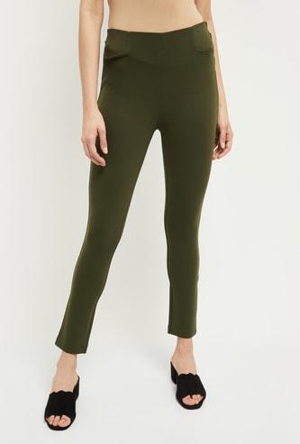 MAX Solid Elasticated Waist Skinny Fit Treggings