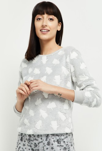MAX Penguin Patterned Textured Lounge Sweatshirt