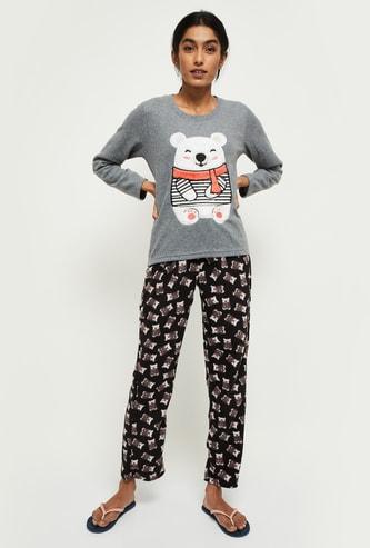 MAX Printed Round Neck T-shirt with Pyjama Pants