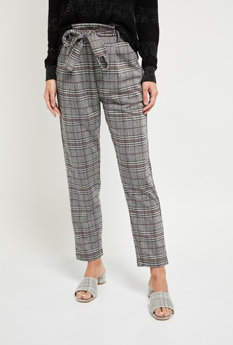 MAX Checked Ankle-Length Pants with Sash Tie-Up