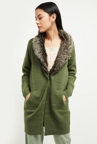 MAX Solid Faux Fur Cardigan
