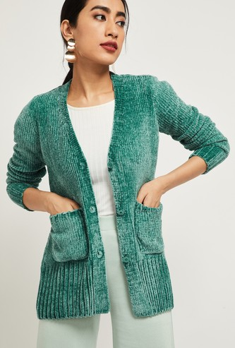 MAX Ribbed Cardigan with Insert Pockets