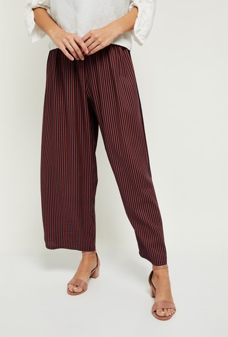 MAX Striped Ankle-Length Palazzo Pants