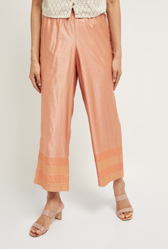MAX Cropped Straight Pants with Striped Hems