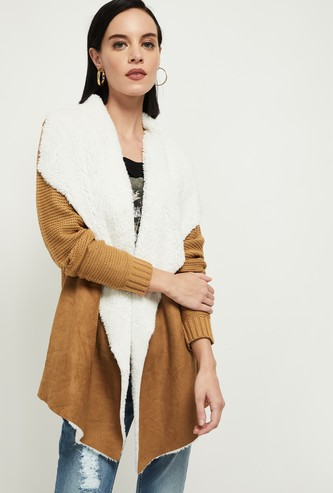 MAX Solid Faux-Fur Knitted Drape-Vest Coat