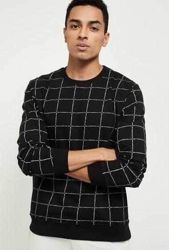 MAX Checked Crew Neck Sweatshirt