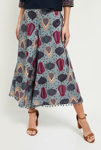 MAX Printed Palazzos with Bobble Trim