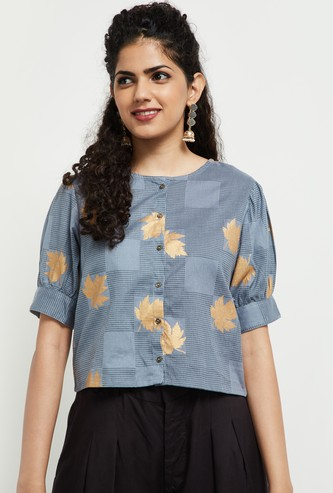 MAX Leaf Print Checked Top