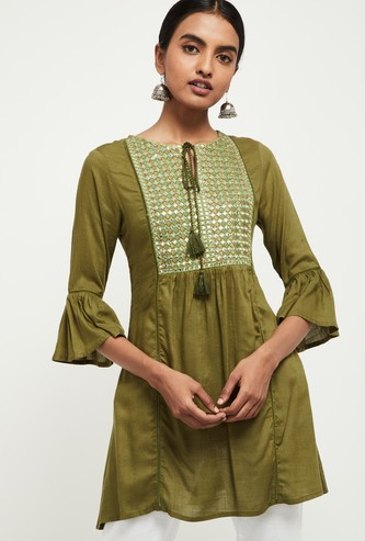 MAX Embroidered Three-Quarter Sleeves Tunic