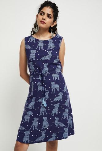 MAX Dog Print Sleeveless A-line Dress