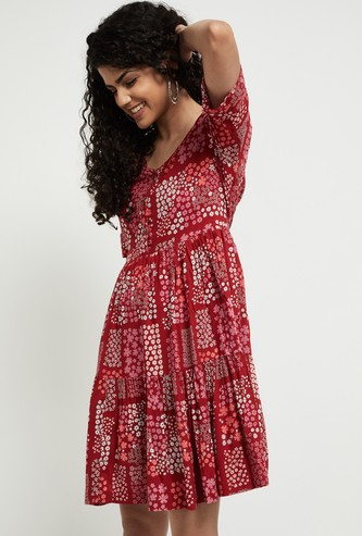 MAX Floral Print A-Line Dress with Roll-Up sleeves