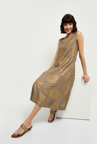 MAX Printed Sleeveless A-line Dress with Attached Belt