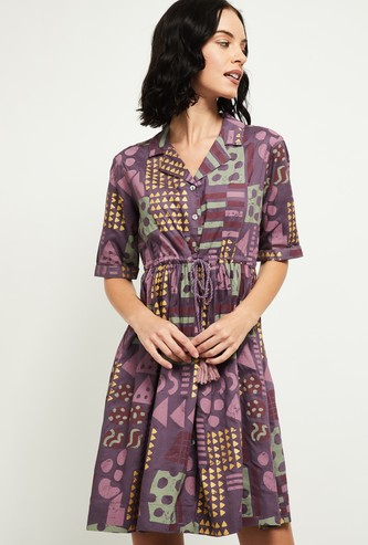 MAX Printed Fit and Flare Dress with Button Placket