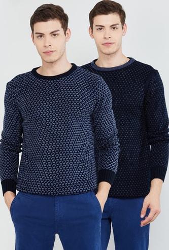 MAX Textured Crew Neck Reversible Sweater