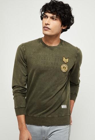 MAX Patchworked Full Sleeves Sweatshirt