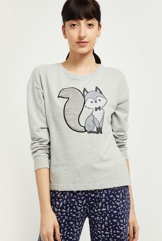 MAX Printed Round Neck Lounge Sweatshirt
