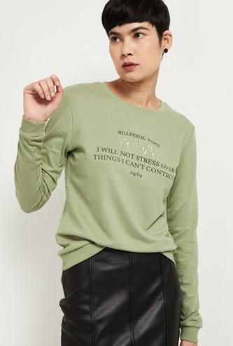 MAX Typograpic Print Full Sleeves Sweatshirt