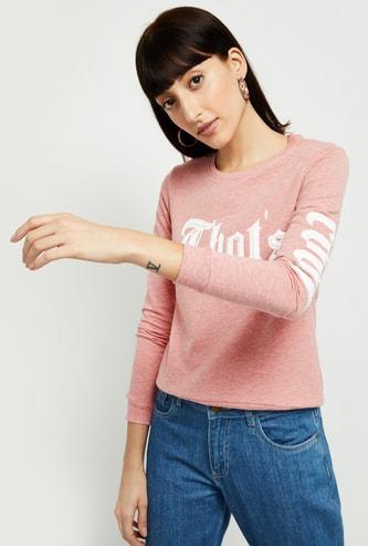 MAX Typographic Print Textured Sweatshirt