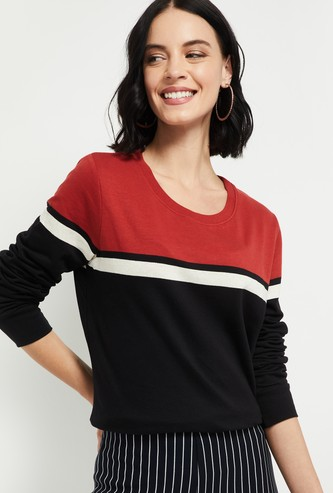 MXAX Colorblocked Round Neck Sweatshirt