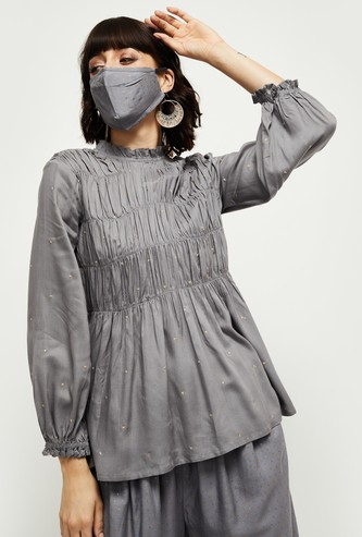 MAX Embellished Round Neck Top with Mask