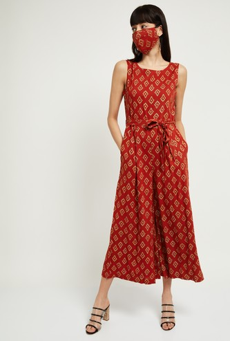 MAX Printed Sleeveless Jumpsuit with Mask