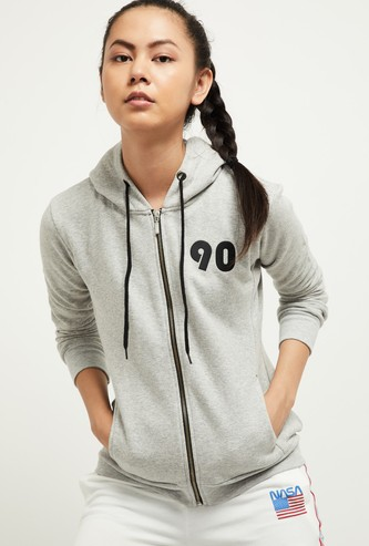 MAX Textured Zip-Front Hooded Sweatshirt