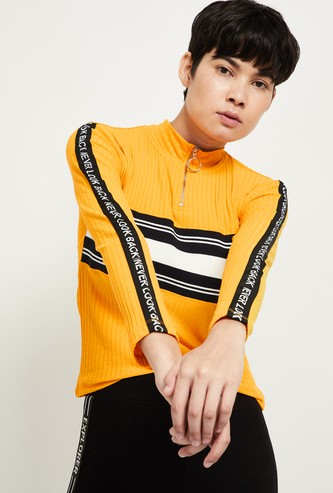 MAX Striped High-Neck Top