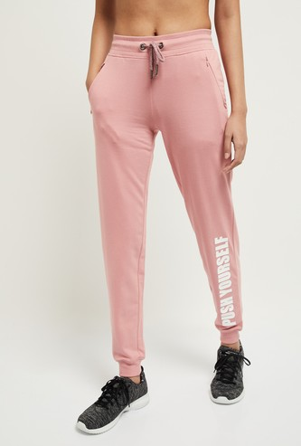 MAX Typographic Print Joggers with Zip Pockets