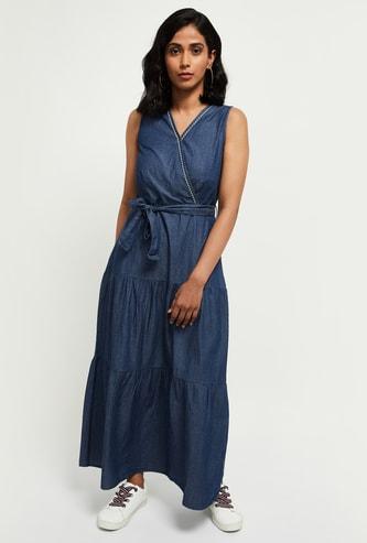 MAX Solid Maxi Denim Dress