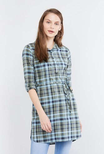 MAX Checked Collared Tunic with Tie-Up Detail