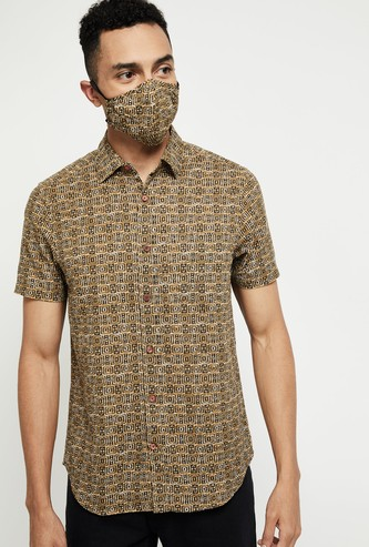 MAX Printed Kurta Shirt with Mask