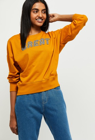 MAX Typographic Print Beaded Drop-Shoulder Sweatshirt