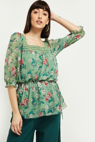 MAX Floral Print Three-quarter Sleeves Tunic