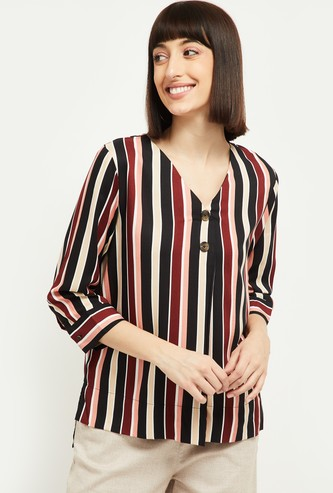 MAX Striped Three-quarter Sleeves Tunic