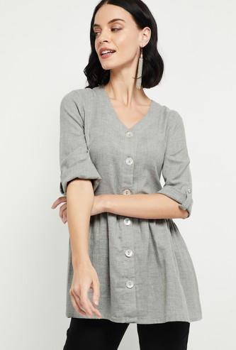 MAX Roll-Up Sleeves Textured V-neck Tunic
