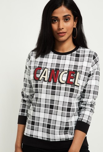 MAX Typographic Print Checked Sweatshirt