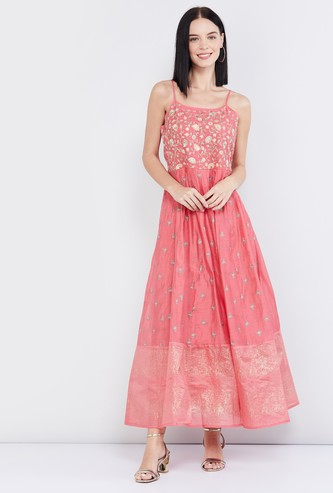 MAX Floral Embroidery Maxi Dress with Shoulder Straps