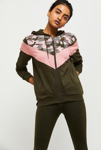 MAX Camouflage Print Colourblock Hooded Jacket