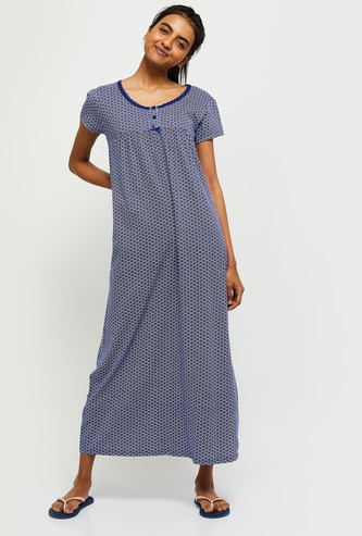 MAX Printed Night Dress with Lace Trim