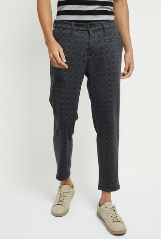 MAX Checked Slim Tapered Cropped Chinos