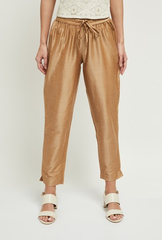 MAX Solid Drawstring Waist Straight Pants