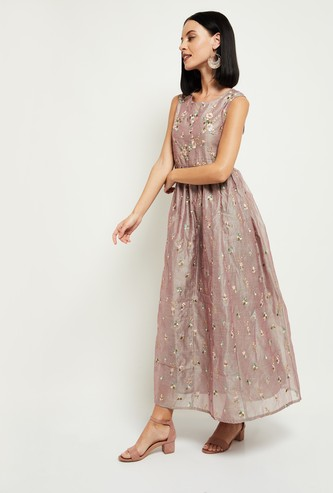 MAX Embroidered Flared Maxi Dress with Face Mask