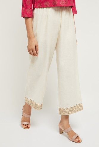 MAX Cropped Palazzo Pants with Printed Hems