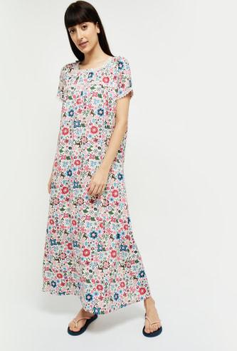 MAX Printed Half-Sleeves Night Gown