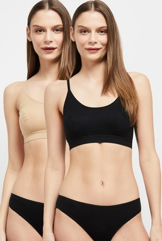 MAX Solid Beginners Cropped Bra - Pack of 2