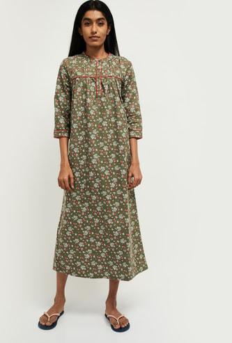 MAX Printed Three-quarter Sleeves Nightgown
