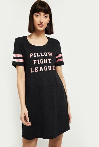MAX Typographic Print Night Dress