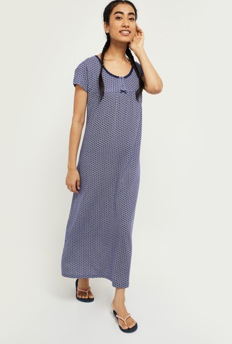 MAX Printed Short Sleeves Gown